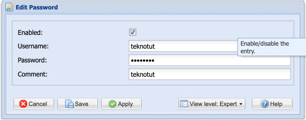 Buat Password TVHeadend