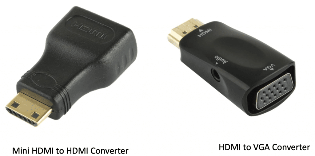 Mini HDMI to HDMI converter and HDMI to VGA