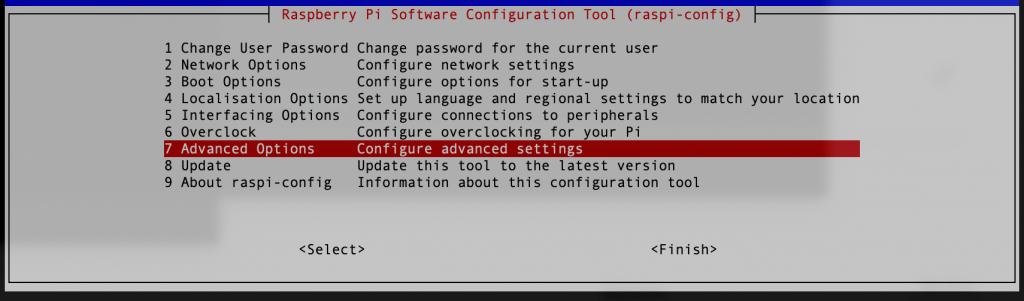 Raspi Config Display. Select in Advanced Option