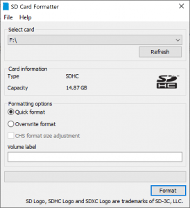 Format with SD CARD Formatter