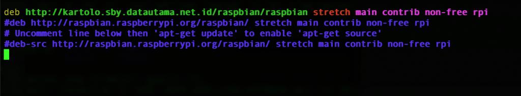 Tampilan Edit Repository Raspbian