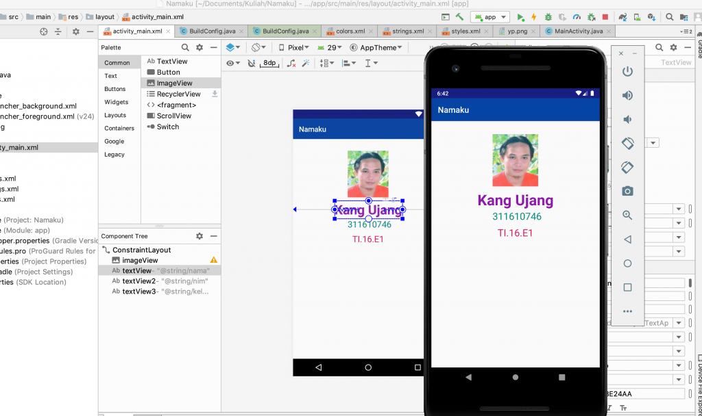 The final results of the program learning android studio