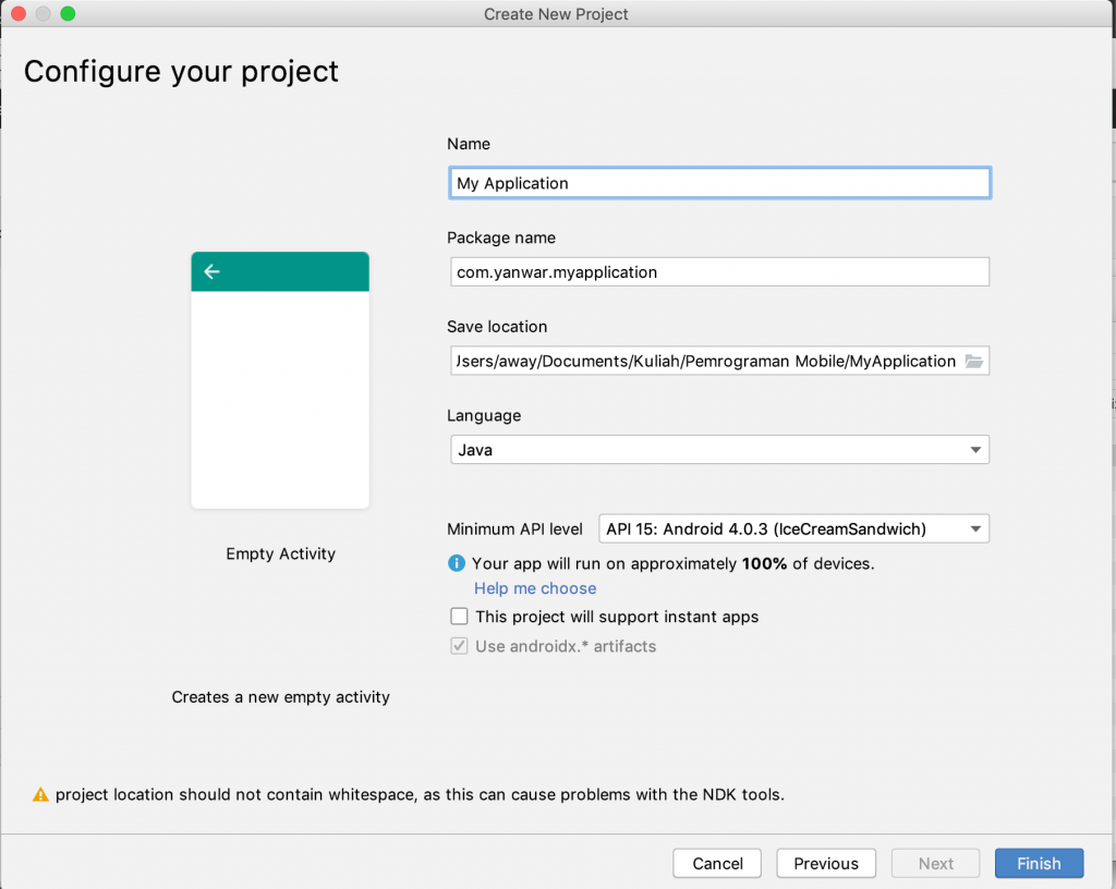 Configuring the Android Studio Tutorial Project