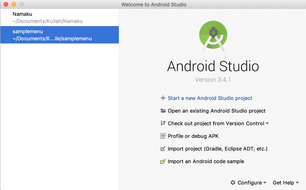 Start Screen Android Studio