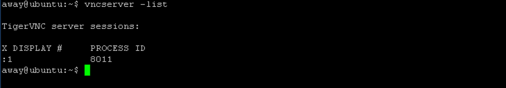 Example Display VNC List