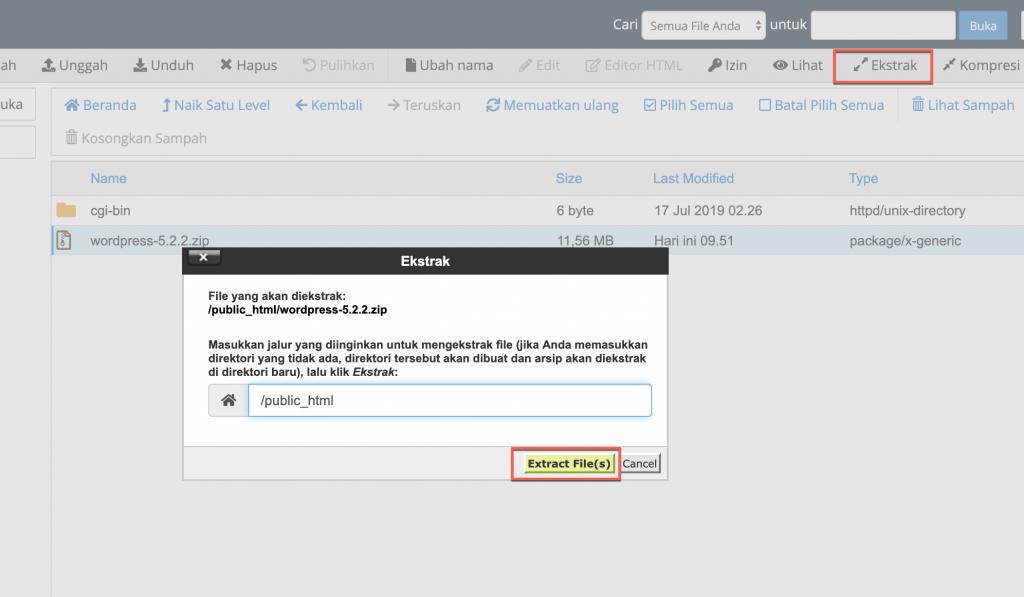 Ekstrak file WordPress