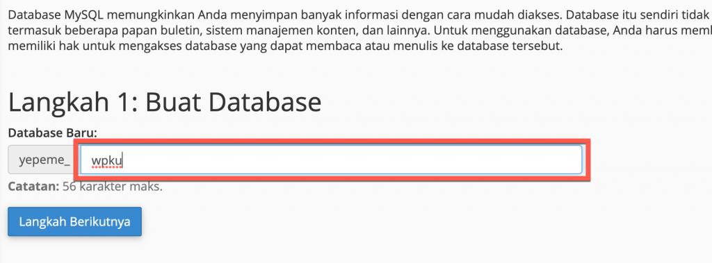 Langkah 1 - Buat Database