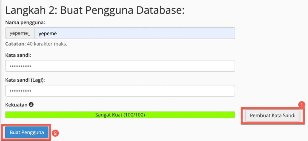 Langkah 2 - Buat Pengguna Database