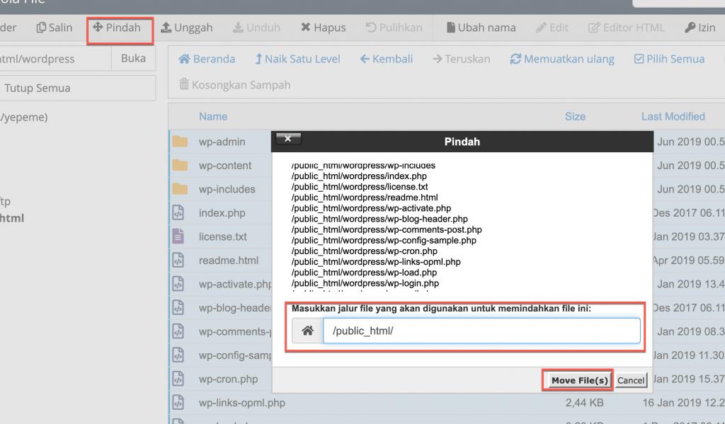 Pindah file ke public_html dengan cara klik move/pindah
