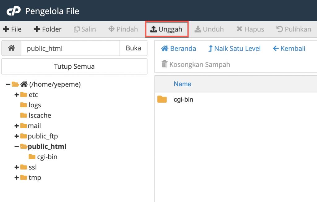 Upload file wordpress ke cPanel